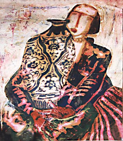 《抱花瓶的女人》NO.1--我的纸面油画 - 会笑的蜻蜓 - 会笑的蜻蜓