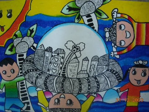 蜡笔水粉画作品   儿童彩笔画作品   少儿线描写生画作品