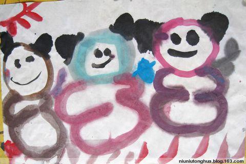 可爱的大熊猫儿童画_熊猫儿童画/高清图片新闻