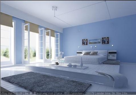 淡蓝色卧室装修欧式风效果图