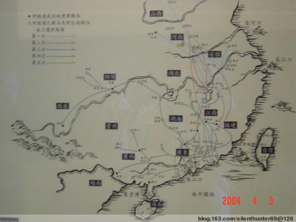 馆内的客家迁徙路线图