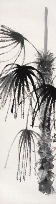 齐白石《风中的棕榈树》