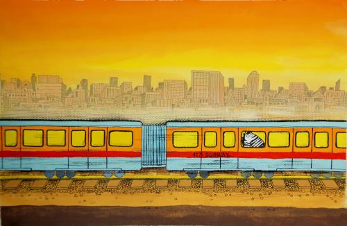 地铁上的斑马人 - 毛利 - 看上去很猛