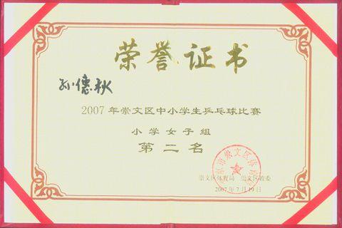 (原创)2007崇文区中小学生乒乓球比赛 - 亮月 - 亮月的冠军之路
