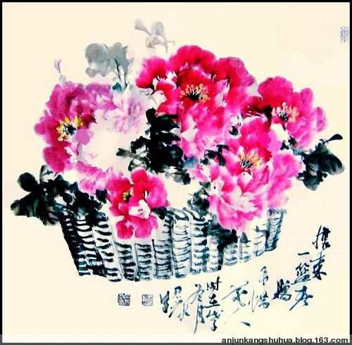 安君康近作《一篮春色》 - 画家安君康 - 安 君 康 书 画 作 品 展
