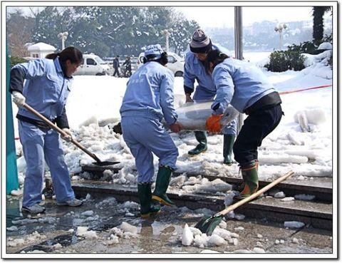 鸠鹚广场上也是保洁人员在除冰.-除雪在行动图片