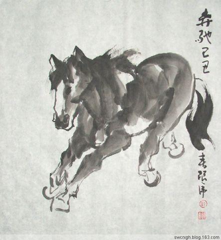 国画作品十二生肖 【午马】 - 墨海游龙 - 许跟虎国画艺术