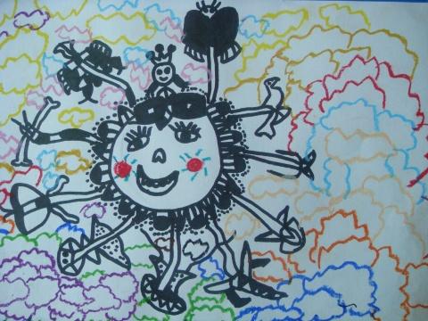 小狗儿童线描装饰画