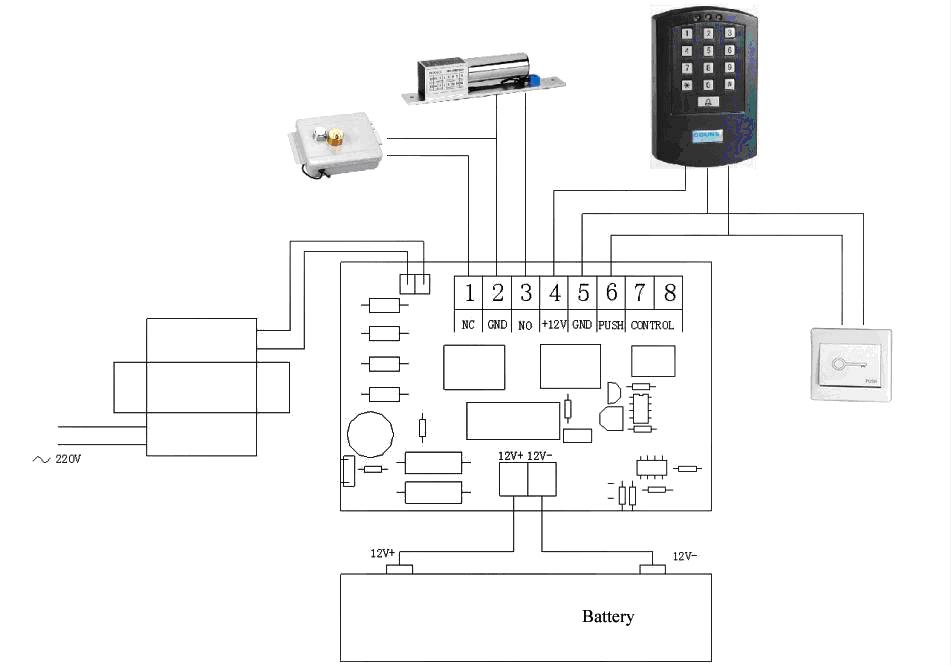 门禁系统安装接线图