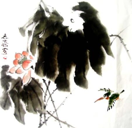 下班前画了几张荷花翠鸟