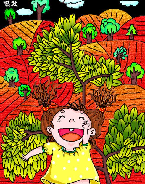 儿童画秋天的枫