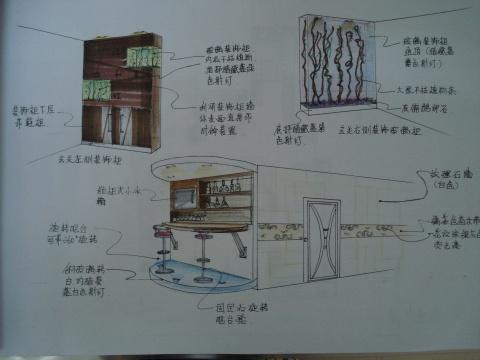 总平面图~~   地板铺设图~~~   天花设计图~~   客厅立面图~~   旋转吧台运作图~   餐厅立面图~~   住宅设计:   封面~   设计说明~   客厅效果图~~~~   局部效果图~~